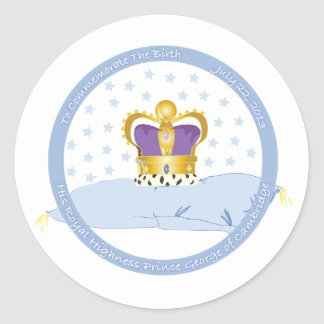 Prince George of Cambridge Pillow and Crown Classic Round Sticker