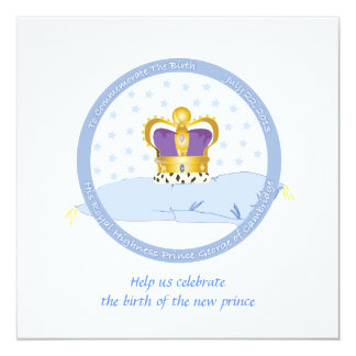 Prince George of Cambridge Pillow and Crown 5.25x5.25 Square Paper Invitation Card