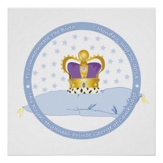 Prince George of Cambridge Pillow and Crown Poster