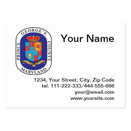 Prince George's County seal Business Card Template