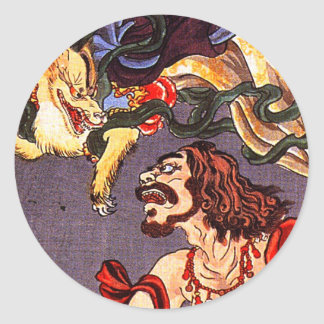 Prince Hanzoku terrorised by a nine- tailed fox Classic Round Sticker