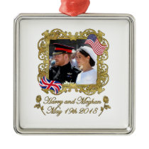 Prince Harry and Meghan Markle Royal Wedding Metal Ornament