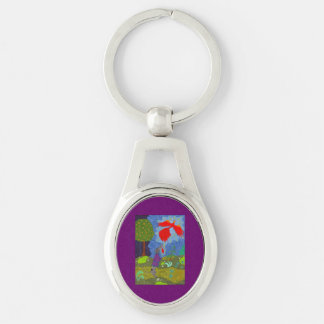 Prince Ivan and the Firebird Silver-Colored Oval Metal Keychain