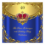 Prince King Red Gold Royal Blue Crown Birthday Personalized Announcements