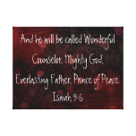 Prince of peace bible verse Isaiah 9:6 Stretched Canvas Prints