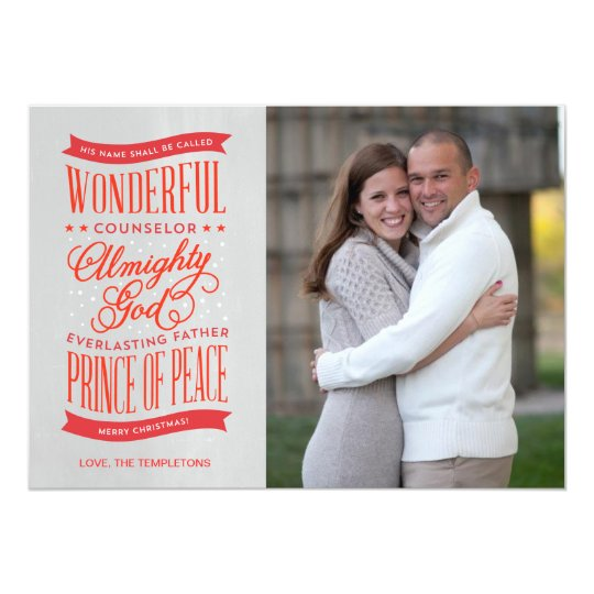Prince of Peace Red Christmas Photo Card