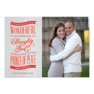 Prince of Peace Red Christmas Photo Card Personalized Announcement