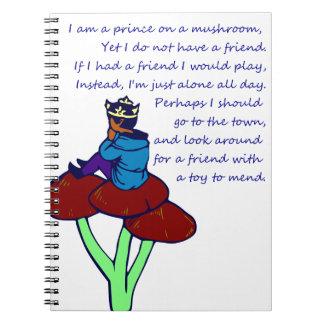 Prince on a Mushroom Poem Spiral Note Books