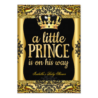 Prince on his way Baby Shower Gold Black 2 Card