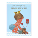 Prince on Phone Baby Shower Chevrons Blue Card