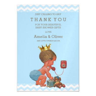Prince on Phone Teddy Chevrons Thank You Magnetic Card