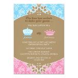 Prince or Princess Damask Gender Reveal Party Card