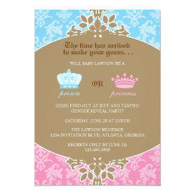 Prince or Princess Damask Gender Reveal Party 5x7 Paper Invitation Card
