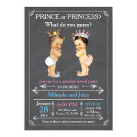Prince or Princess Gender Reveal - Caucasian 5x7 Paper Invitation Card