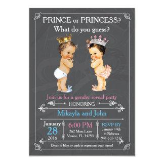 Prince or Princess Gender Reveal - Caucasian 5x7 Paper Invitation Card