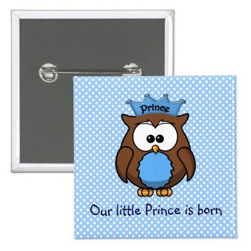 Prince owl 2 inch square button