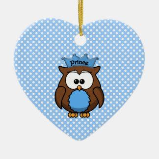 Prince owl ceramic ornament