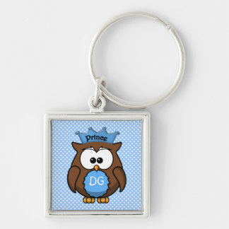 Prince owl Silver-Colored square keychain