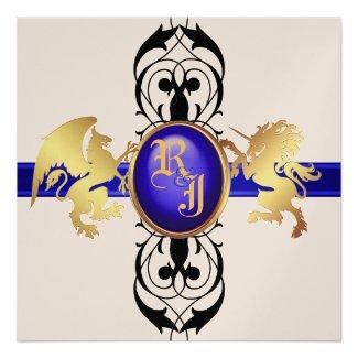 Prince & Princess Blue Champagne Invitation