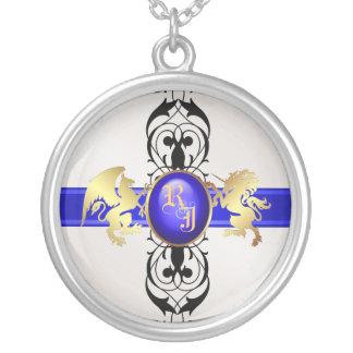 Prince & Princess Blue Jewel Monogram Necklace