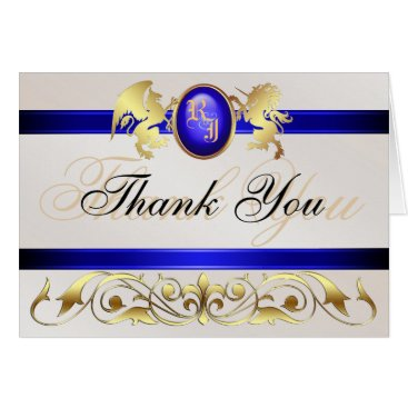 Professional Business Prince & Princess Blue Jewel Thank You Notecard