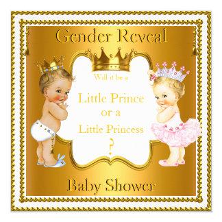 Prince Princess Gender Reveal Baby Shower Blonde Card