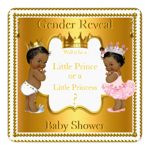 Prince Princess Gender Reveal Baby Shower Ethnic ...