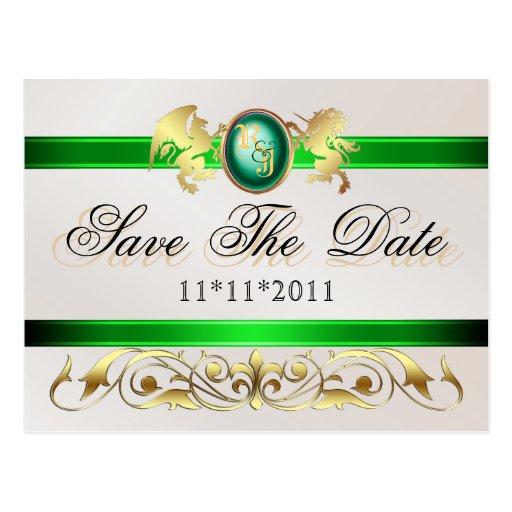 Prince & Princess Green Save The Date Postcard