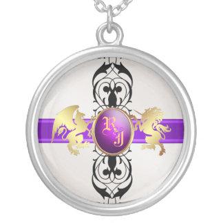 Prince & Princess Purple Jewel Monogram Necklace