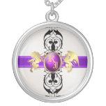 Prince & Princess Purple Jewel Monogram Necklace 2