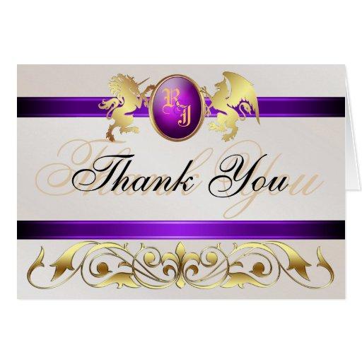 Prince & Princess Purple Jewel Thank You Notecard Greeting Card
