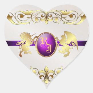 Prince & Princess Purple Love Heart Stickers 2