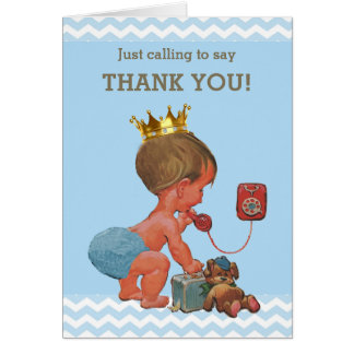 Prince Ringing To Say Thank You Baby Shower Card
