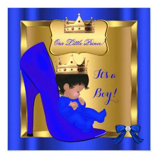 Prince Royal Baby Shower Cute Boy Blue Shoe 3 Card
