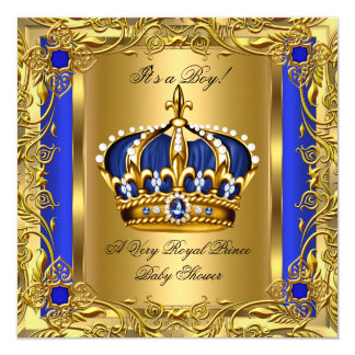 Prince Royal Blue Baby Shower Boy Regal Gold 2 Card