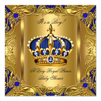 Prince Royal Blue Baby Shower Boy Regal Gold 3 Card