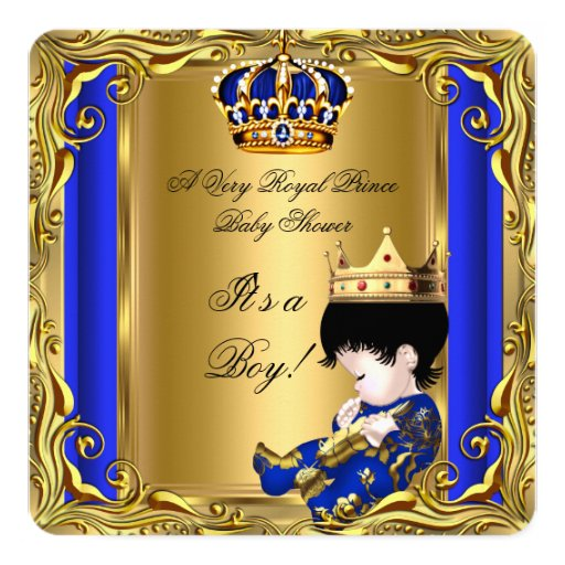 prince royal blue baby shower gold baby boy square invitation