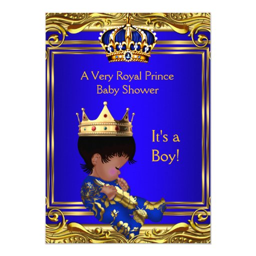 prince royal blue baby shower gold boy ethnic 5x7 paper invitation