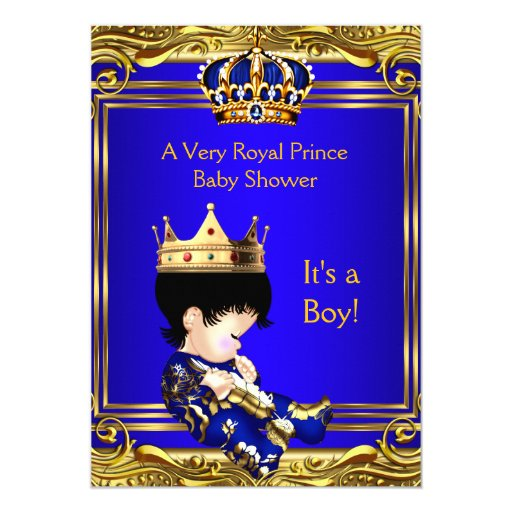 prince royal blue baby shower gold boy 5x7 paper invitation card
