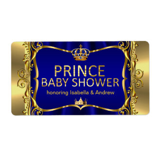 Prince Royal Blue Baby Shower Gold Boy Label