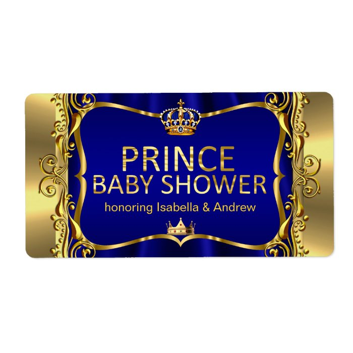 Prince Royal Blue Baby Shower Gold Boy Label