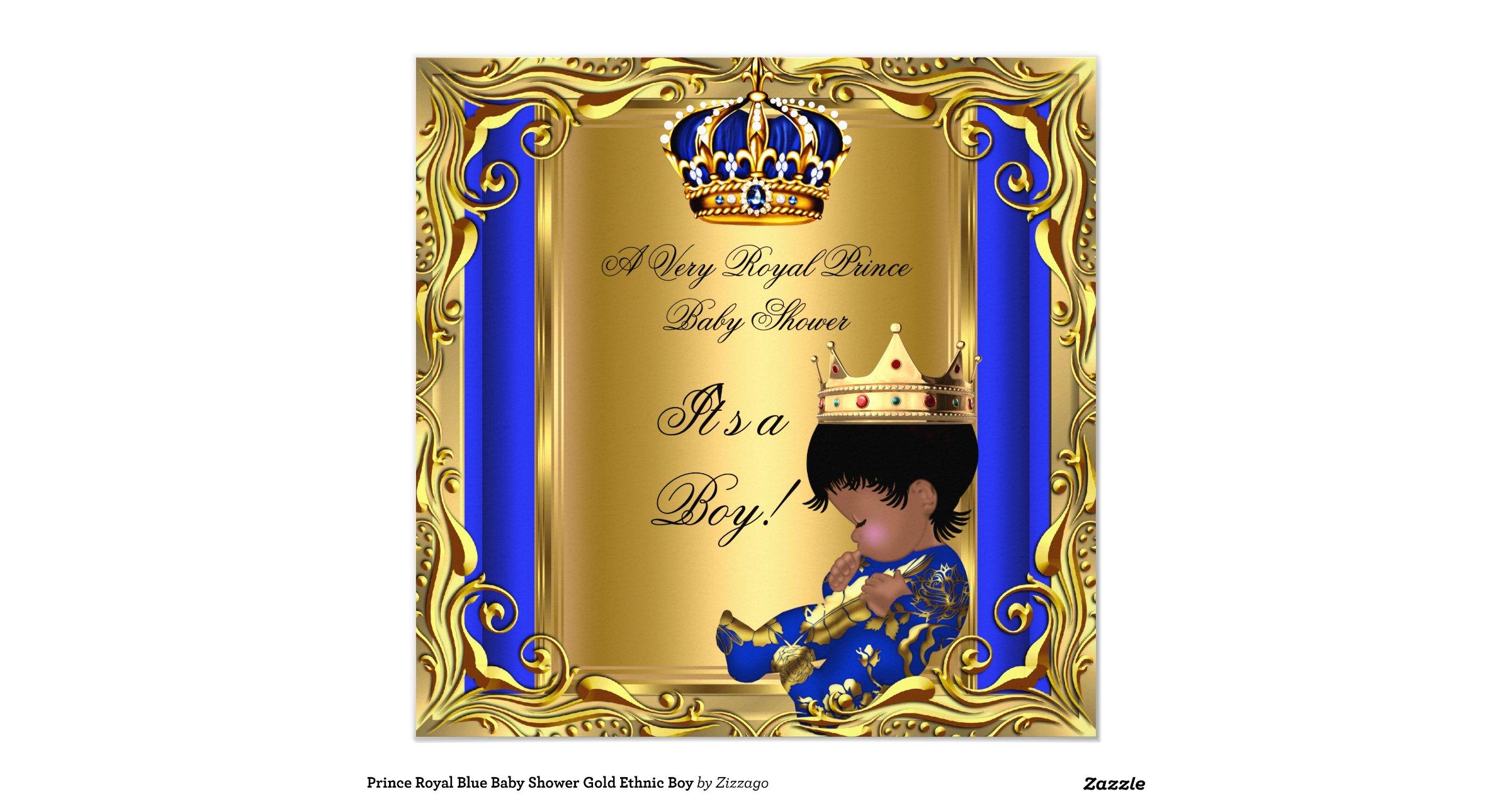 prince royal blue baby shower gold ethnic boy invitation