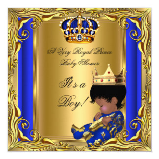Prince Royal Blue Baby Shower Gold Ethnic Boy 5.25x5.25 Square Paper Invitation Card