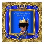 Prince Royal Blue Baby Shower Gold Frame Boy 5.25x5.25 Square Paper Invitation Card