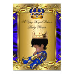 Prince Royal Blue Baby Shower Regal Gold Boy 2 5x7 Paper Invitation Card