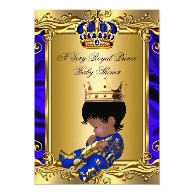 Prince Royal Blue Baby Shower Regal Gold Boy 2 5x7 Paper Invitation Card