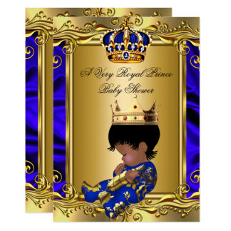 Prince Royal Blue Baby Shower Regal Gold Boy 2 Card