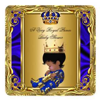 Prince Royal Blue Baby Shower Regal Gold Boy 2 5.25x5.25 Square Paper Invitation Card