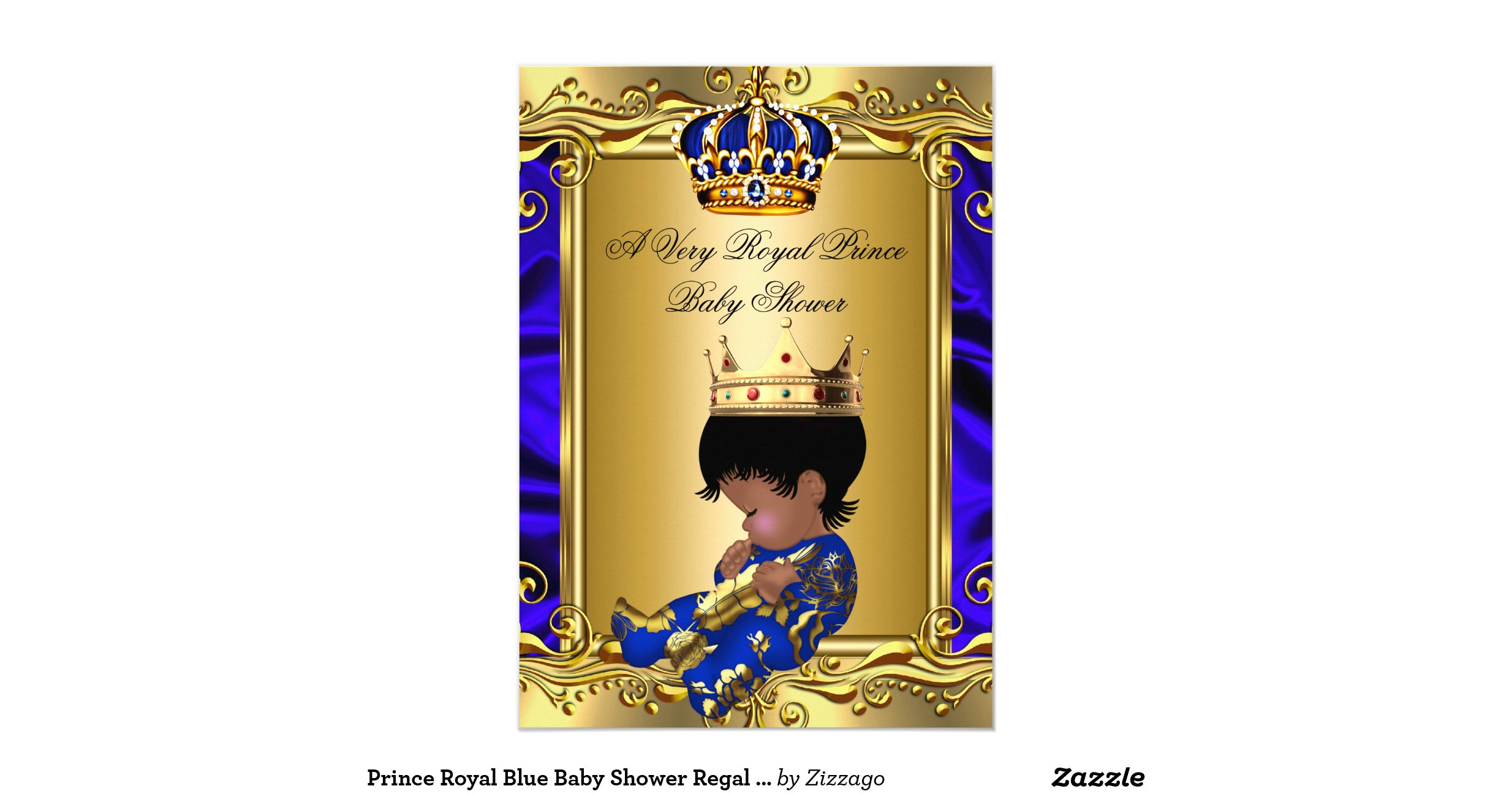 prince royal blue baby shower regal gold boy 2 5x7 paper invitation