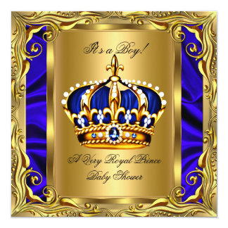 prince royal blue baby shower regal gold boy invitation